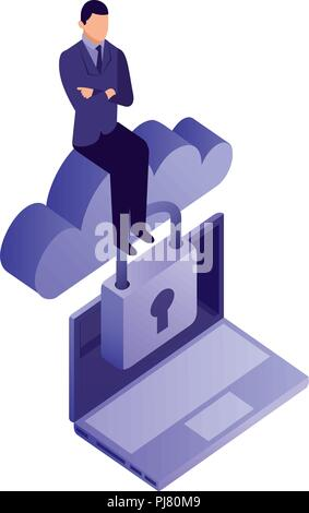 businessman with cloud computing and set icons isometric icon vector illustration design - Stock Photo