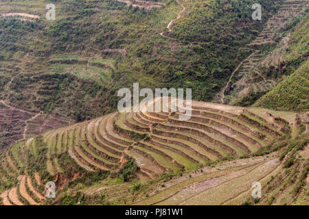 Ha Giang, Vietnam - March 18, 2018: Scenic rice terraces in the mountains of northern Vietnam - Stock Photo