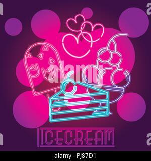 Ice cream neon sign - Stock Photo
