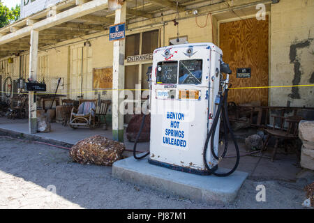 Old gas pump outside a general store on highway 120 in Benton Hot springs California USA - Stock Photo