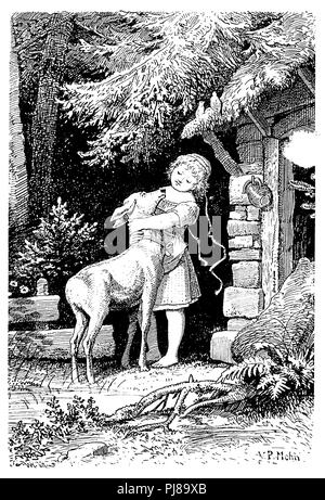 Brother and sister, deer, Grimm's fairy tale, P Mohn  1910 - Stock Photo