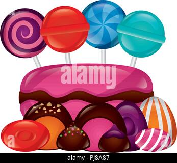 sweet lollipops macarons caramels stuffed chocolate bonbon - Stock Photo