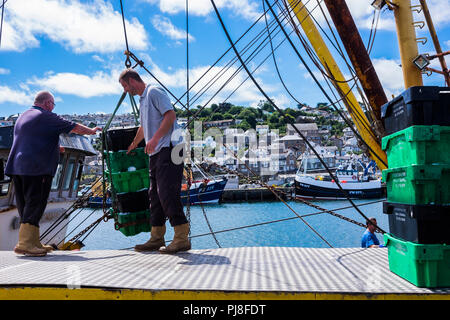 Newlyn harbour, one of the largest fishing ports, Cornwall, England, U.K. - Stock Photo