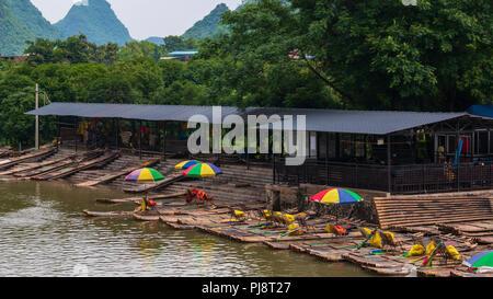 Rafts on Li River in Yangshuo Guilin China. - Stock Photo