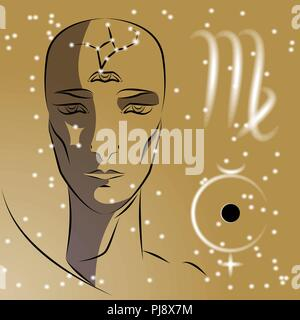 Sign of zodiac Virgo. Girl is fortuneteller with third eye, constellation, sign of zodiac and planet as protector. Vector background of stars. Trigon  - Stock Photo
