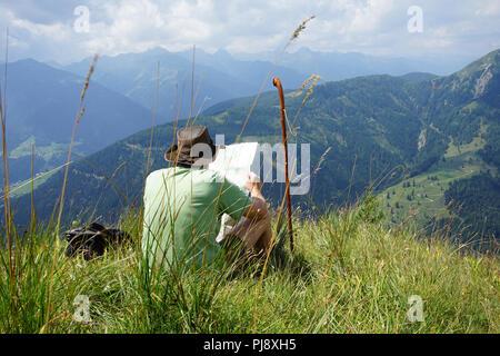 Mussen oder Auf der Mussen, Naturschutzgebiet, Almgebiet, Bergwiesen, Lesachtal, Kärnten, Österreich - Stock Photo