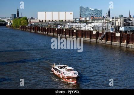 Longboat in the colours of the football association FC Saint Pauli on the Reiherstieg in Hamburg, Germany, Europe, Barkasse in den Farben des Fußballv