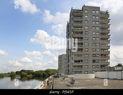 High-rise housing at Thamesmead, southeast London, the famous 1960s social housing project developed by the Greater London Council - Stock Photo