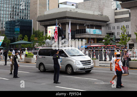 SEOUL, SOUTH KOREA - AUGUST 18: Thousands of South Koreans protest against South Korean President Moon Jae-in and show their support for the USA on Sa - Stock Photo
