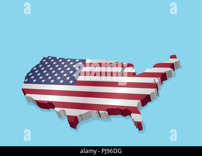 Three Dimensional Map of USA and American Flag. All the objects, shadows and background are in different layers. - Stock Photo