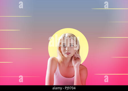 Lovely girl smiling and dreaming about seaside rest - Stock Photo