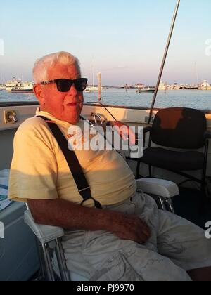 Coast Guard and partner agencies are searching for Peter Horan, 80-years-old in Buzzards Bay, Massachusetts on July 9, 2018, after failing to reach New Bedford when he was supposed too. Horan set sail from Cuttyhunk and was reported missing by his caretaker. - Stock Photo