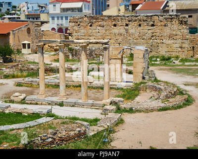 Remains of the Atrium at the courtyard of Hadrian's Library in Athens, Attica region, Greece. - Stock Photo