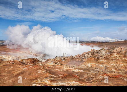 Gunnuhver Hot Springs and Reykjanes Geothermal Power Station, Reykjanes Peninsual, Iceland - Stock Photo