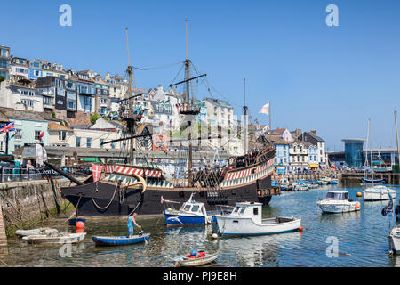 23 May 2018: Brixham, Devon, UK - The Golden Hind replica, an attraction in Brixham Harbour. - Stock Photo