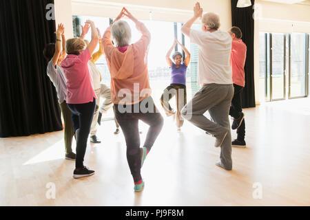 Active seniors exercising, practice yoga tree pose in circle - Stock Photo