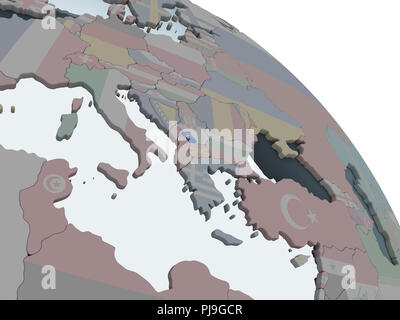 Kosovo on political globe with embedded flag. 3D illustration. - Stock Photo