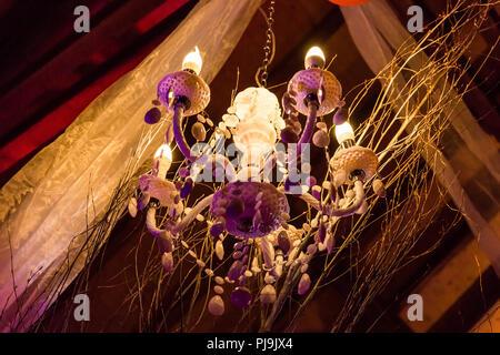 Hanging Chandelier and Tulle Wedding Lighting - Stock Photo