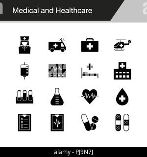 Medical and Healthcare icons. Design for presentation, graphic design, mobile application, web design, infographics. Vector illustration. - Stock Photo