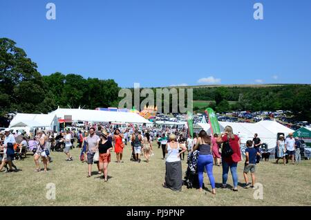 Crowds of people walking in an agricultural show Vale of Glamorgan Wales Cymru UK - Stock Photo