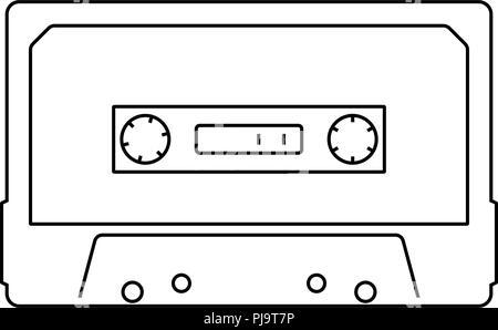 Audio cassette  icon. Thin line design. Vector illustration. - Stock Photo