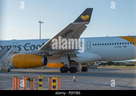 Thomas Cook Airbus A330 aircraft seen at Glasgow International Airport, Renfrewshire, Scotland - 10th September 2017 - Stock Photo