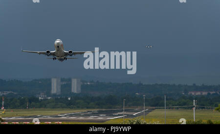 Jet2 Airlines departs Glasgow International Airport, Renfrewshire, Scotland - 1st June 2018 - Stock Photo