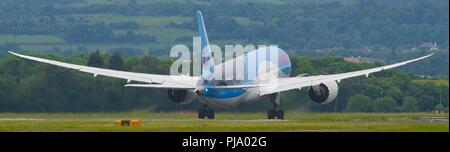 Thomson Airways (TUI) Boeing 787 Dreamliner seen departing Glasgow International Airport, Renfrewshire, Scotland. - Stock Photo