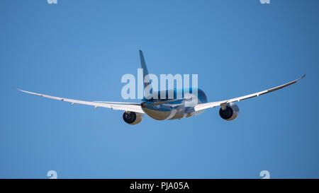 Photographing Planes taking off from runway 23 at Glasgow International Airport, near Paisley, Scotland - 5 June 2018 - Stock Photo