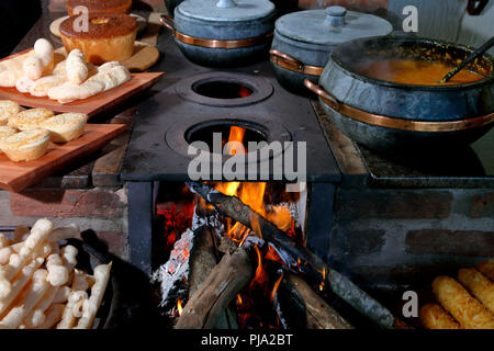 Wood stove in typical rural house in the interior of Brazil - Stock Photo