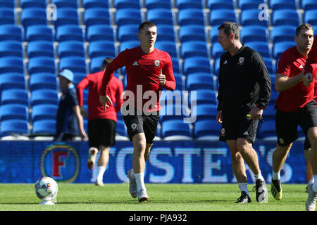Cardiff, UK. 5th September 2018. Ben Woodburn of Wales © in action during the Wales football squad training at the Cardiff city Stadium in Cardiff , South Wales on Wednesday 5th September 2018.  the team are preparing for their  international match against the Republic of Ireland tomorrow.   pic by Andrew Orchard/Alamy Live News - Stock Photo