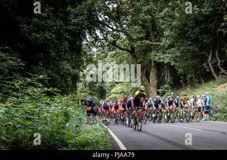 Edge Hill, UK. 5th September 2018. The pelaton heads up Edhe Hill during Stage 4 of the OVO men's Tour of Britain Credit: lovethephoto/Alamy Live News - Stock Photo