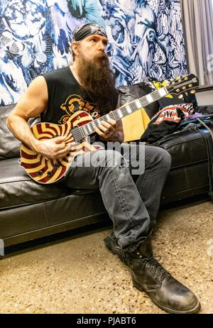 Toronto, Ontario, Canada. 4th Sep, 2018. Metal guitarist, singer and songwriter ZAKK WYLDE warming up before Ozzy Osbourne show at Budweiser Stage in Toronto during 'No More Tours 2' tour. Credit: Igor Vidyashev/ZUMA Wire/Alamy Live News - Stock Photo