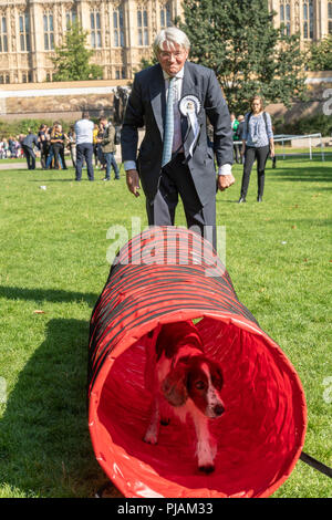 London, UK. 6th September 2018 Westminster Dog of the year event in Victoria Tower Gardens, London, UK. Andrew Mitchell MP with his dog Scarlet Credit Ian Davidson/Alamy Live News - Stock Photo