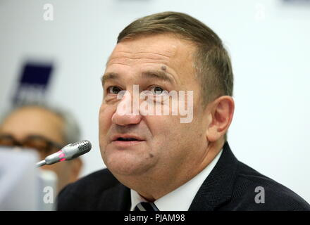 St Petersburg, Russia. 06th Sep, 2018. ST PETERSBURG, RUSSIA - SEPTEMBER 6, 2018: Konstantin Sukhenko, head of the St Petersburg Culture Committee, during a press conference on the Europe Theatre Prize. Peter Kovalev/TASS Credit: ITAR-TASS News Agency/Alamy Live News - Stock Photo
