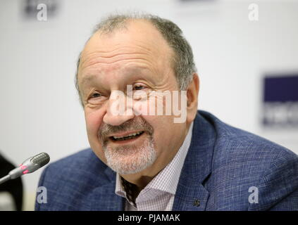 St Petersburg, Russia. 06th Sep, 2018. ST PETERSBURG, RUSSIA - SEPTEMBER 6, 2018: Baltic House Festival Theatre General Director Sergei Shub during a press conference on the Europe Theatre Prize. Peter Kovalev/TASS Credit: ITAR-TASS News Agency/Alamy Live News - Stock Photo