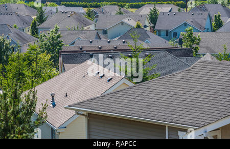 Rooftops of a housing development in the Issaquah Highlands, Washington, USA - Stock Photo