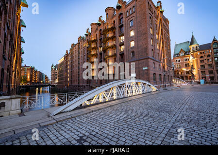 Famous cityscape of the Hafencity in Hamburg, Germany - Stock Photo