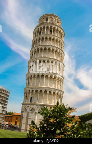 The leaning Tower of Pisa in the Cathedral Square Piazza Del Duomo, an architectural landmark freestanding belltower in Italy, Europe - Stock Photo