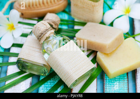 Spa and wellness massage setting. Outdoor summer background. Close up. - Stock Photo