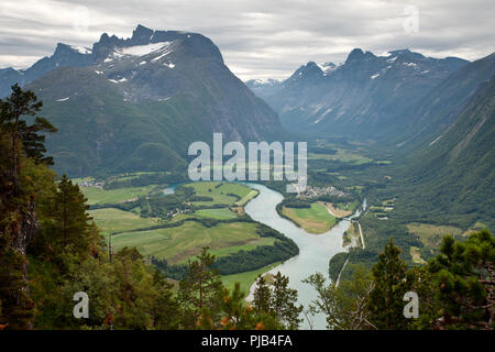 Andalsnes Town and Rauma River from Rampestreken - Stock Photo