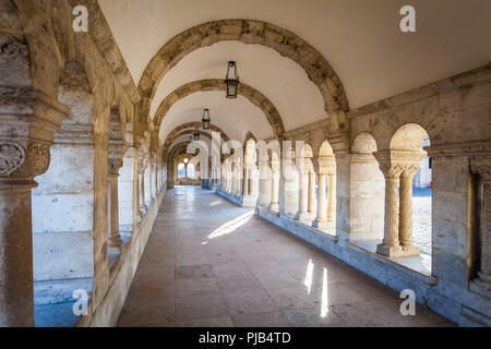 BUDAPEST / HUNGARY - FEBRUARY 02, 2012: View of historical landmark Fishermans Vastion located in the capitol of the country, shot taken during winter - Stock Photo