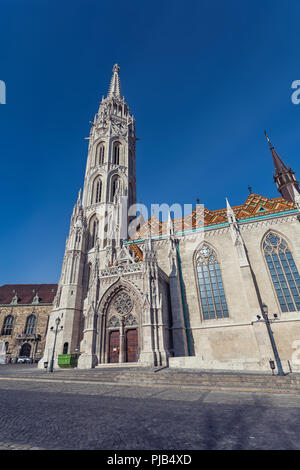 BUDAPEST / HUNGARY - FEBRUARY 02, 2012: View of historical St Matthias Church located in the capitol of the country, shot taken during winter day - Stock Photo