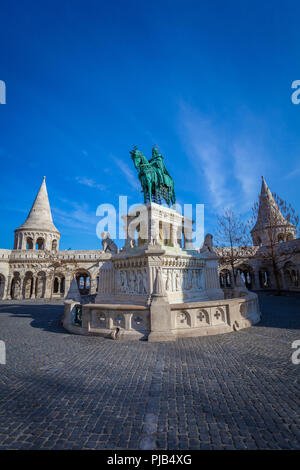 BUDAPEST / HUNGARY - FEBRUARY 02, 2012: View of historical landmark Szent István szobra monumente located in the capitol of the country, shot taken du - Stock Photo