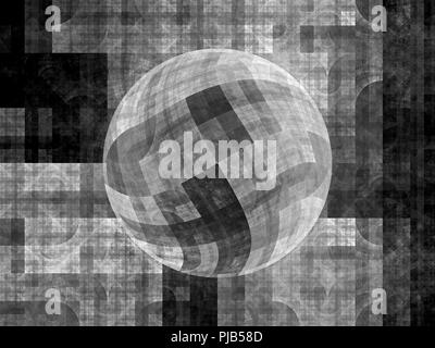 Blue glowing sphere fractal, black and white, computer generated abstract background, 3D rendering - Stock Photo