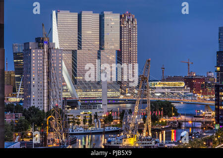 Rotterdam, The Netherlands, August 31, 2018: View from downtown towards the maritime outdoor museum at Leuvehaven, Nieuwe Maas river and the new devel - Stock Photo