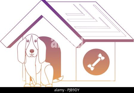 pet house with cute basset hound dog over white background, vector illustration - Stock Photo