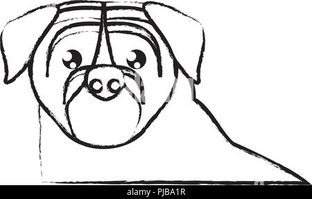 pug dog icon over white background, vector illustration - Stock Photo