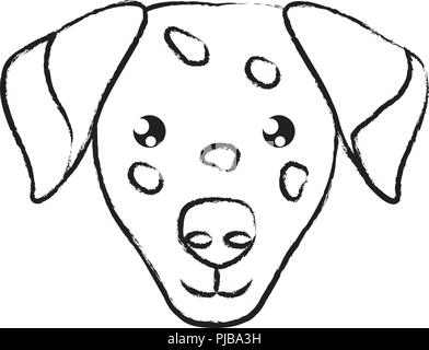 cute dalmatian dog icon over background, vector illustration - Stock Photo