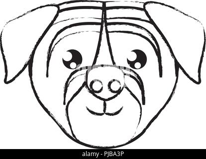 cute pug dog icon overwhite background, vector illustration - Stock Photo